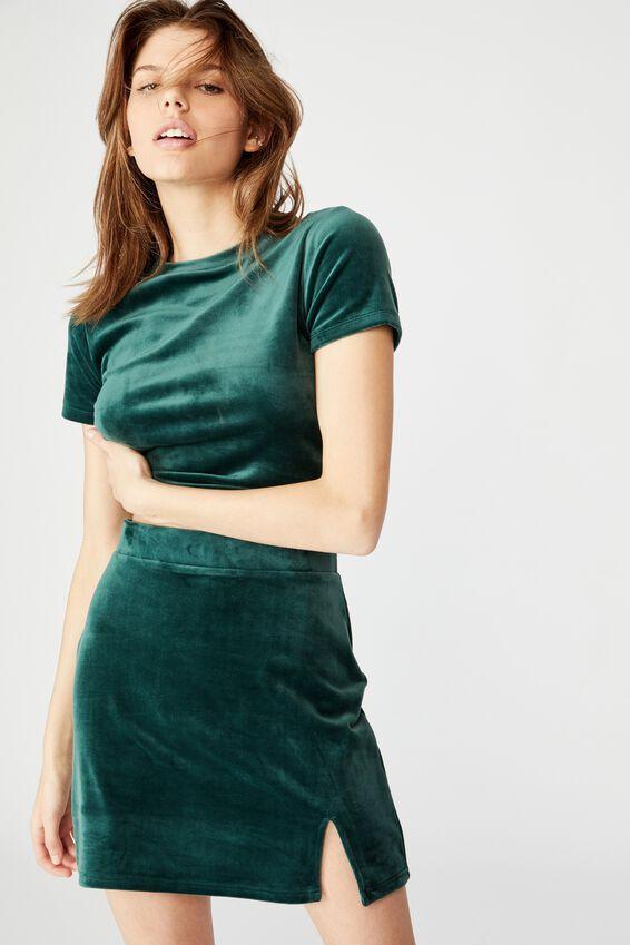 Velvet  Split Skirt, PONDEROSA PINE