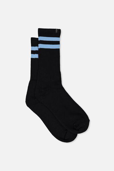 Retro Ribbed Socks, BLACK_P BLU STRIPE