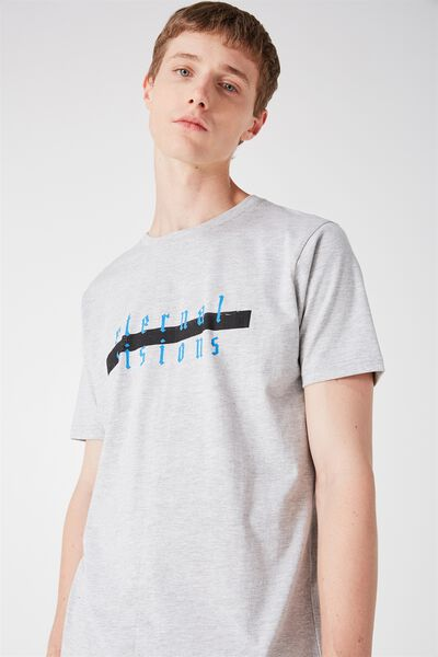 Tagged Tee, LIGHT GREY MARLE/FEVER