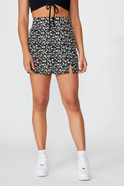 Double Split Mini Skirt, CRUSHED BLACK FLORAL