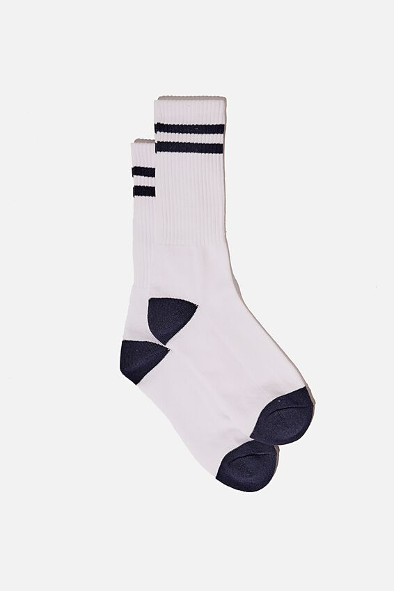 Retro Ribbed Socks, WHITE CHARCOAL STRIPES
