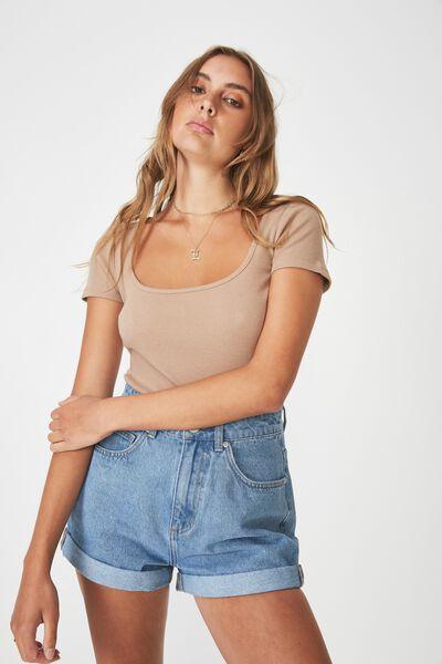 Wide Scoop Neck Short Sleeve Top, MOCHA