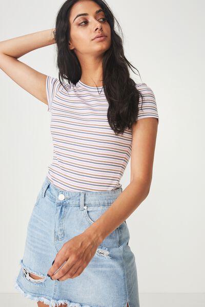Short Sleeve Rib T Shirt Stripe, CARLY STRIPE_WHITE