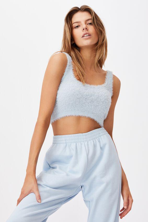 Fluffy Knit Tank, SKYWAY BLUE