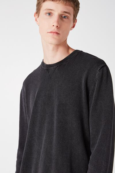 Mixed Crew Knit, BLACK ACID HZ
