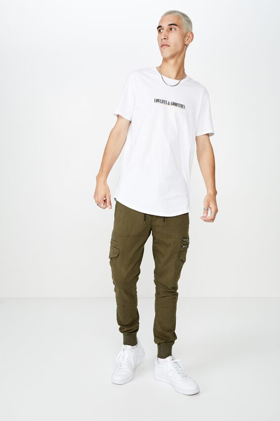 Curved Graphic T Shirt, WHITE/LOWLIFES