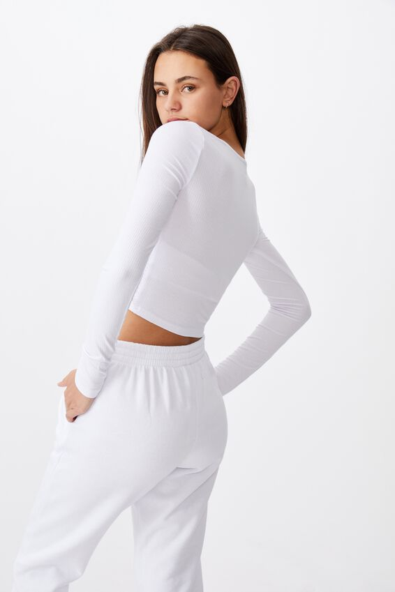 Long Sleeve Ruched Front Top, WHITE