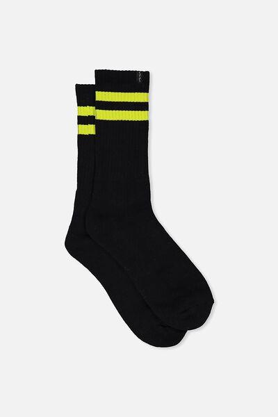 Retro Ribbed Socks, BLACK_LIME STRIPE