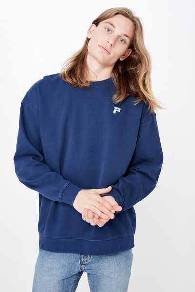 Fila Lcn Embroidered Oversized Crew, WASHED NAVY