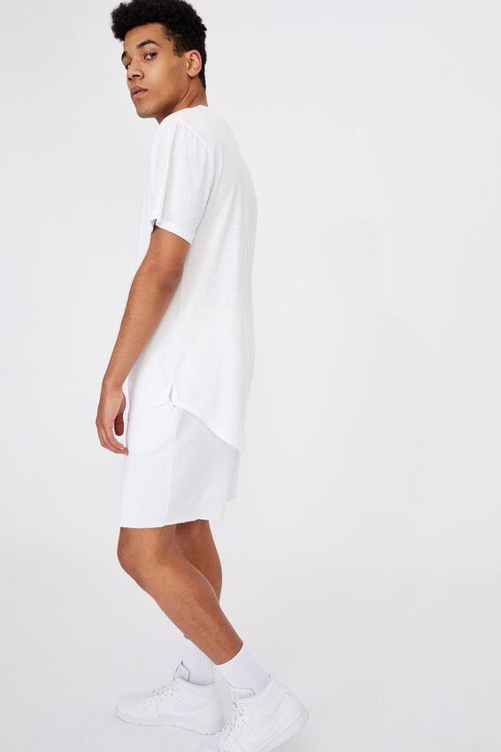 Longline Curved Washed T Shirt, WHITE