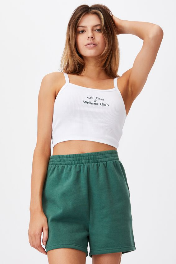 Square Neck Embroidered Crop Cami, WHITE/WELLNESS CLUB