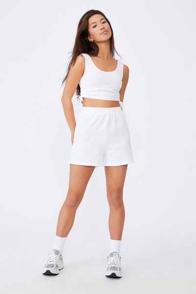 Ruched Side Seam Tank, WHITE