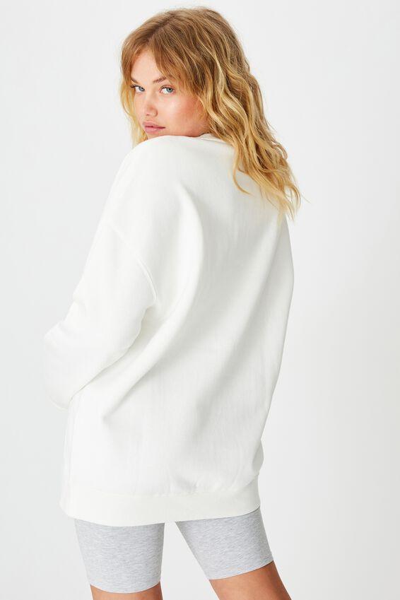 Oversized Crew Neck Sweater, WHITE