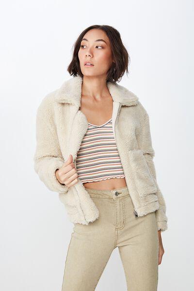 Cropped Teddington Jacket, OATMEAL