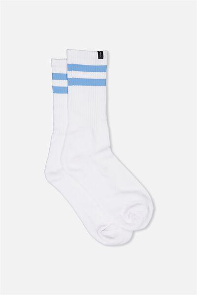 Retro Ribbed Socks, WHITE_P BLU STRIPE