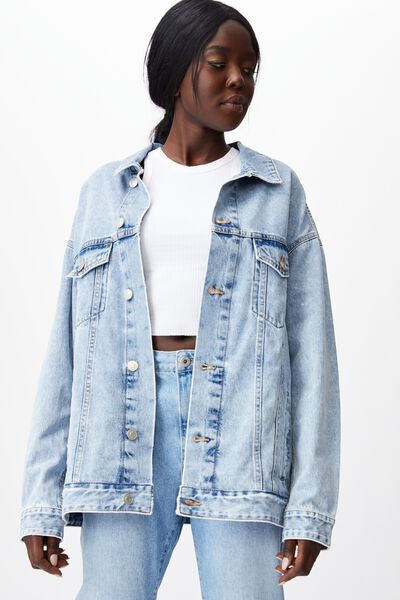 Oversized Denim Jacket, 90 S BLUE