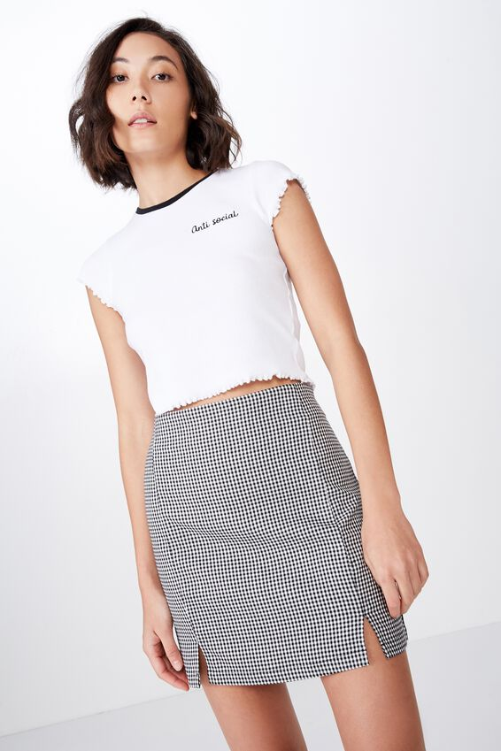 Double Split Mini Skirt, BLACK GINGHAM
