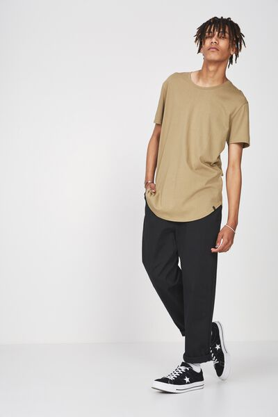 Curved T Shirt, COVERT GREEN