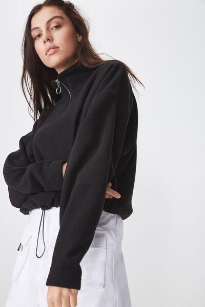 Crop Qtr Zip Polar Fleece, BLACK