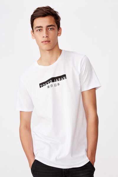 Curved Graphic T Shirt, WHITE/TOKYO JAPAN