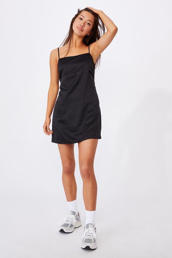 Satin Mini Dress, BLACK