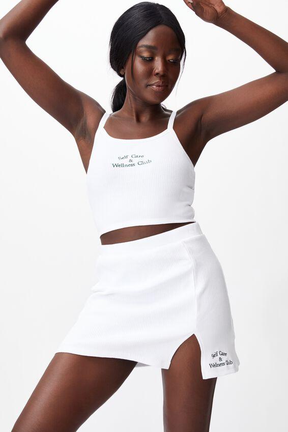 Rib Side Split Skirt, WHITE/WELLNESS CLUB