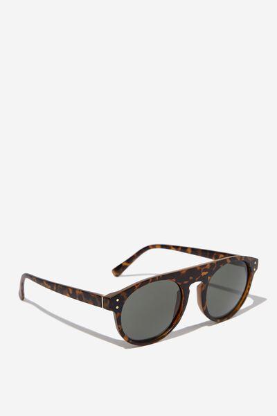 Round Flat Top Sunglasses, MATT CRY SEPIA_GRN