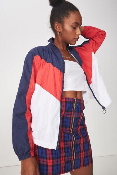 Windbreaker Jacket, NAVY/RED/WHITE