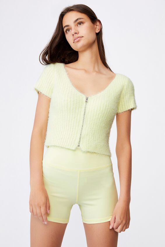 Fluffy Knit Short Sleeve Zip Cardi, LIME CREAM