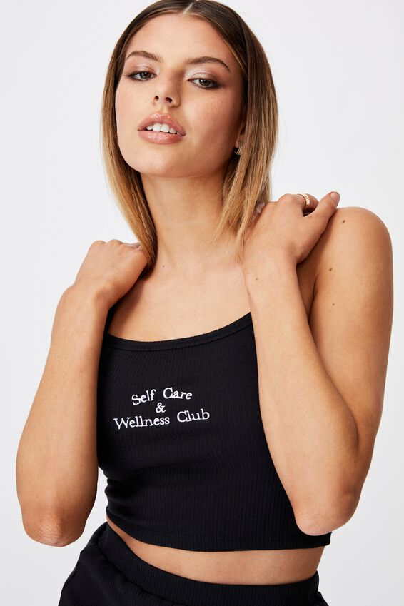 Square Neck Embroidered Crop Cami, BLACK/WELLNESS CLUB