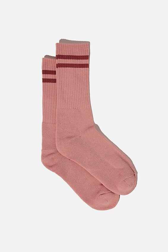 Retro Ribbed Socks, FUSCHIA PIGMENT