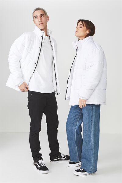 Puffer Jacket, WHITE