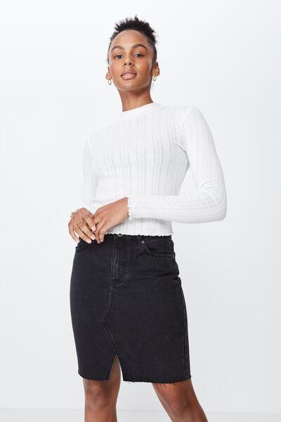 High Waisted Denim Skirt 2, THRIFT BLACK