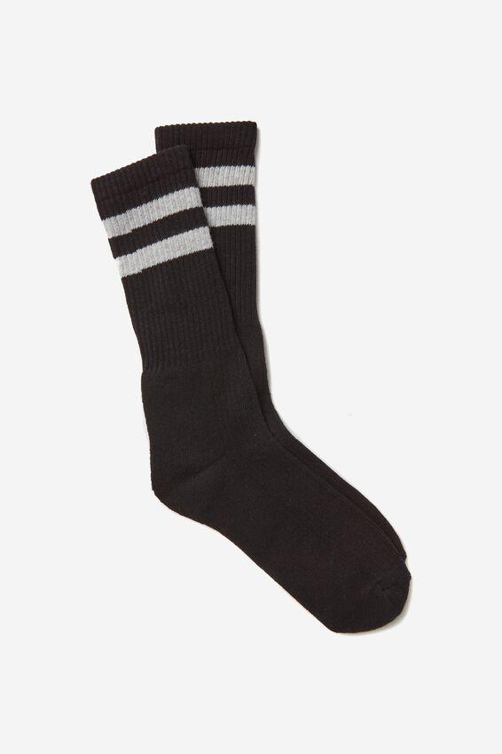 Retro Ribbed Socks, BLACK RETRO STRIPE