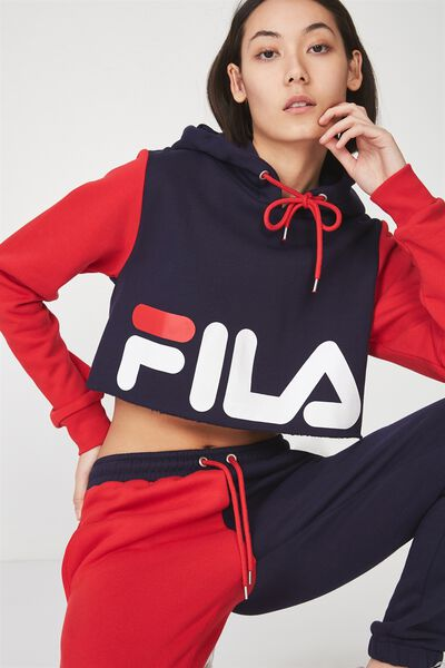 Fila Lcn Panel Crop Block Hoodie, EVENING BLUE/LYCHEE