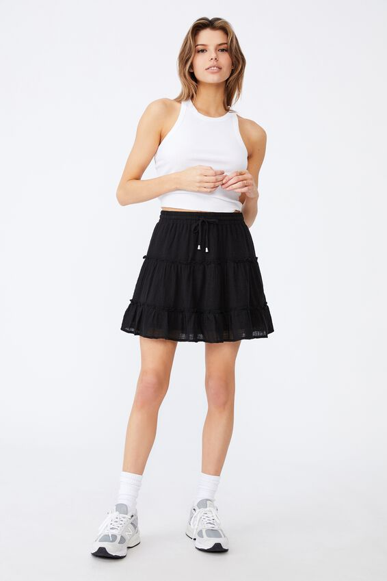 Textured Tiered Skirt, BLACK