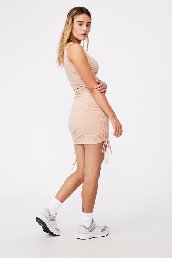 Ruched Sleeveless Dress, RUGBY TAN