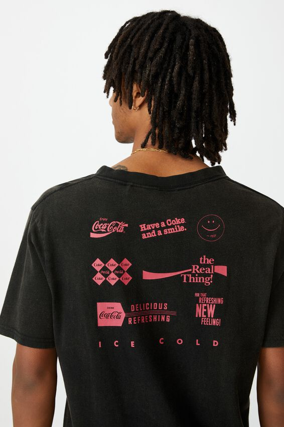Regular License T Shirt, LCN COK WASHED BLACK/COCA COLA