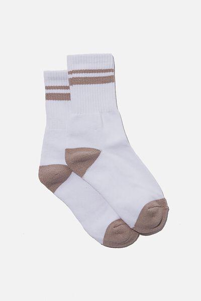 Retro Sport Sock, WHITE DAWN STRIPE