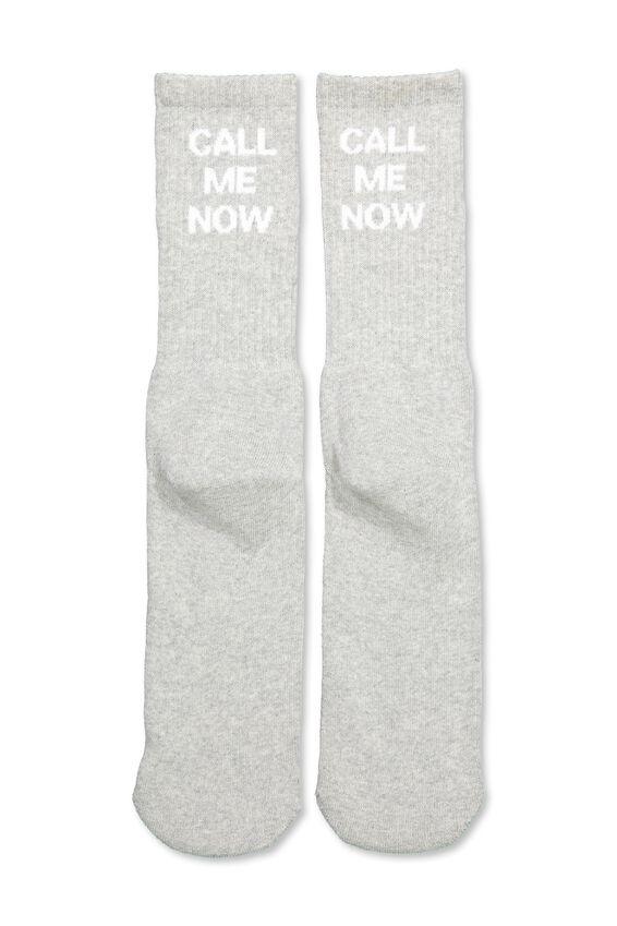 Retro Ribbed Socks, CALL ME NOW_GM/WHTE