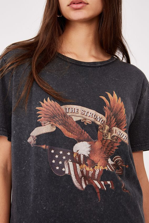 Relaxed Graphic T Shirt, WASHED BLACK/AMERICAN SURVIVE