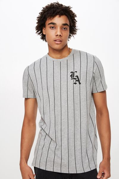 Slim Graphic T Shirt, TRUE GREY MARLE/BALL PARK