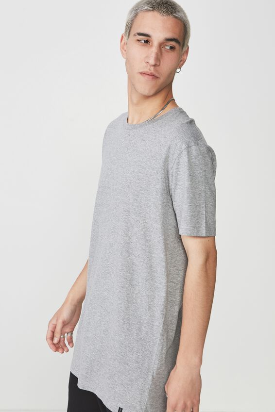 Longline T Shirt., TRUE GREY MARLE