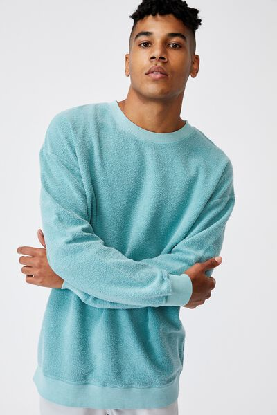 Reverse Fleece Crew, WASHED COOL MINT