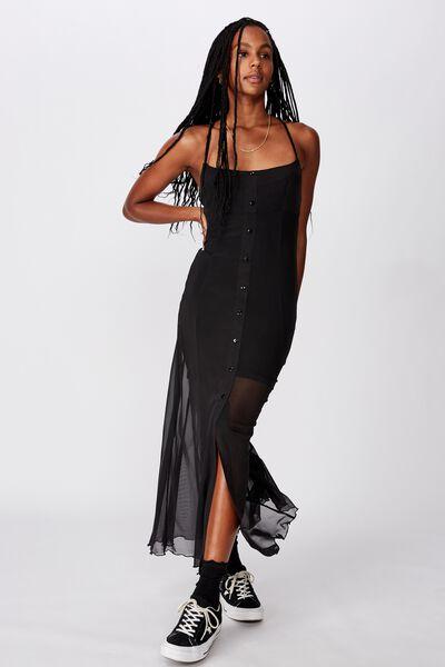 Mesh Maxi Dress, BLACK