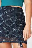 Pull Front Mesh Skirt, NAVY/GREEN CHECK