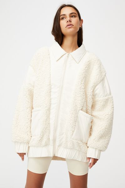 Oversized Teddy Jacket, ECRU