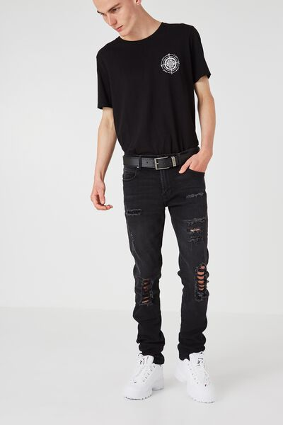 Slim Straight Denim Jeans, BLACK BLOW OUT