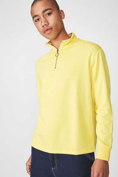 Qtr Zip Funnel Neck Top, DANDELION