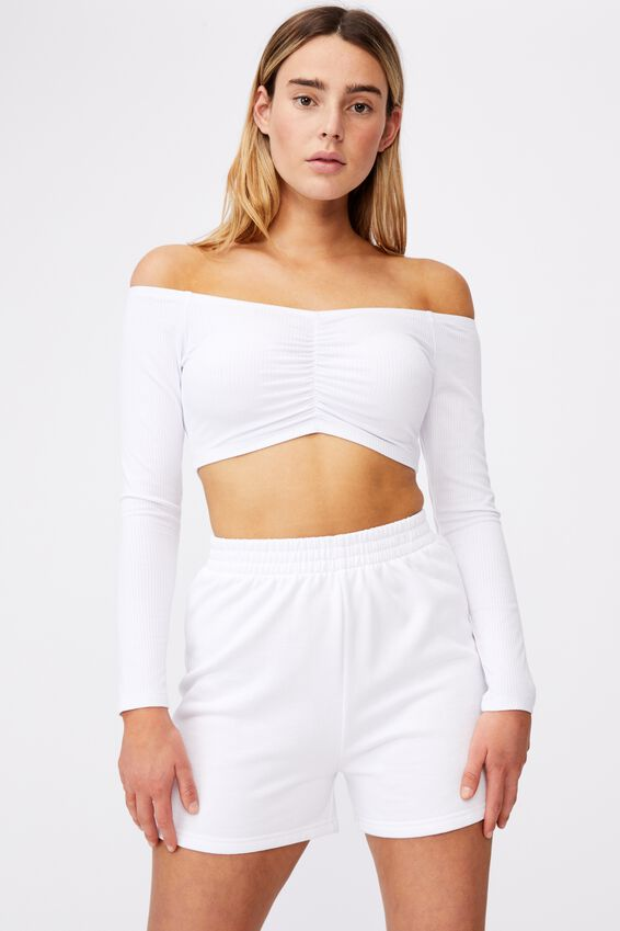 Long Sleeve Ruched Front Off Shoulder Top, WHITE